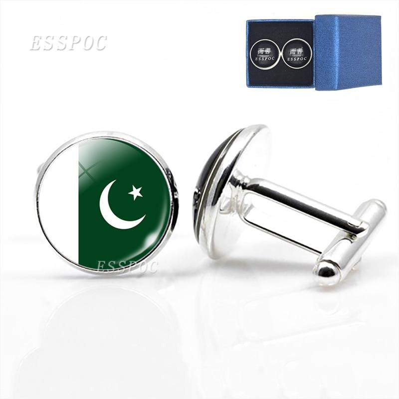 1 Pair Pakistan Flag Cufflinks Suits Shirt Pakistani Flag Cuff Links Silver Plated Cufflinks For Men Wedding Cuff Accessories