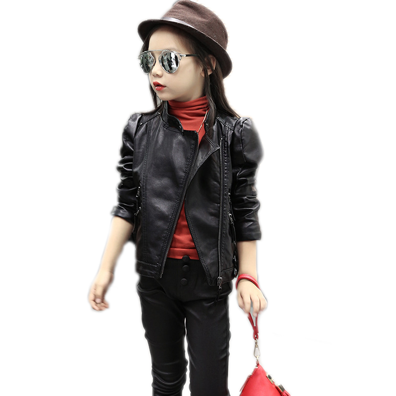 girl jackets and coat 2018 spring toddler girl jackets solid pu leather short jackets children clothing girl motorcycle jacket pu leather and corduroy spliced zip up down jacket
