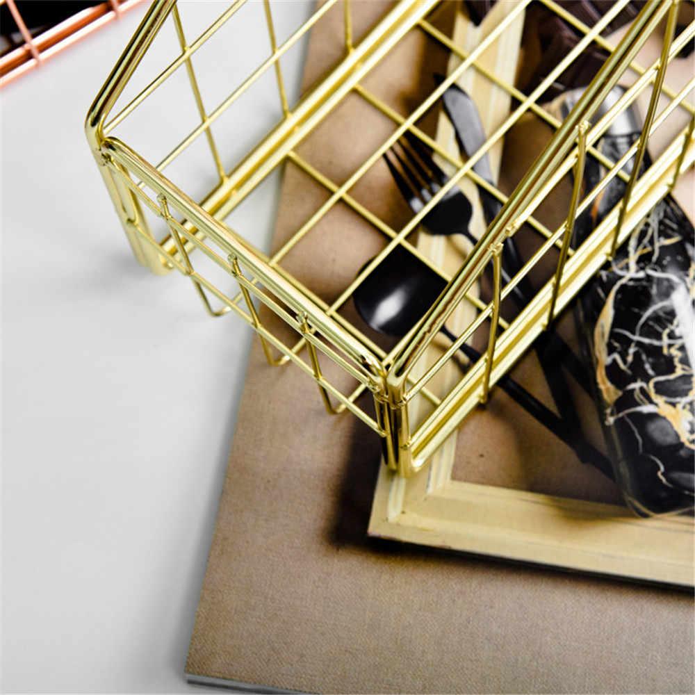 Livro Revista Rack de Ferro Ouro Escandinavo nórdico A4 Acabamento Organizador Cesta Cesta De Armazenamento De Papel De Metal Mesa de Escritório Em Casa