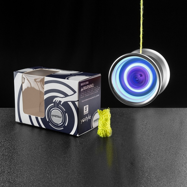 MAGICYOYO Y02-Aurora Yoyo Light Up, Professional Unresponsive Yoyo, Alloy Yoyo With Blue Led Lights Ball With Bag Glove 5x Rop