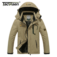 TACVASEN Winter Men Jacket Waterproof Hooded Fleece Jacket Coat Outerwear Man Casual Jacket Thermal Windbreaker Plus Size 6XL(China)