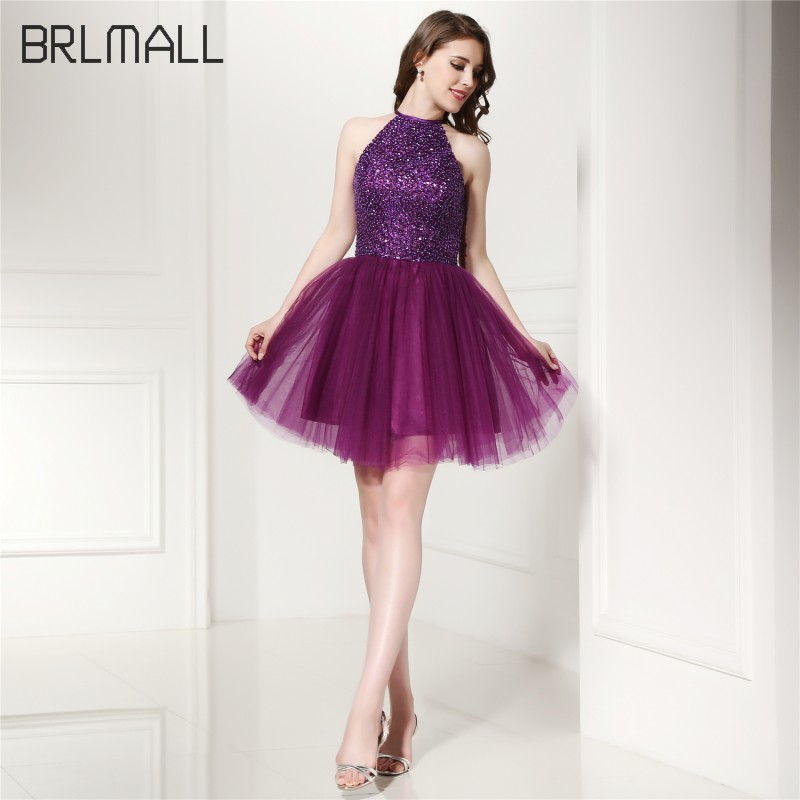 BRLMALL Sexy Hater Púrpura Homecoming Dresses Fashion Clave Agujero ...