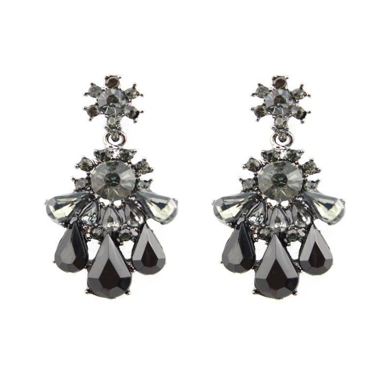 2017 Fashion Earrings For Women Dangle Cubic Zirconia Resin Teardrop Chandelier Gold Plating Trendy Jewelry