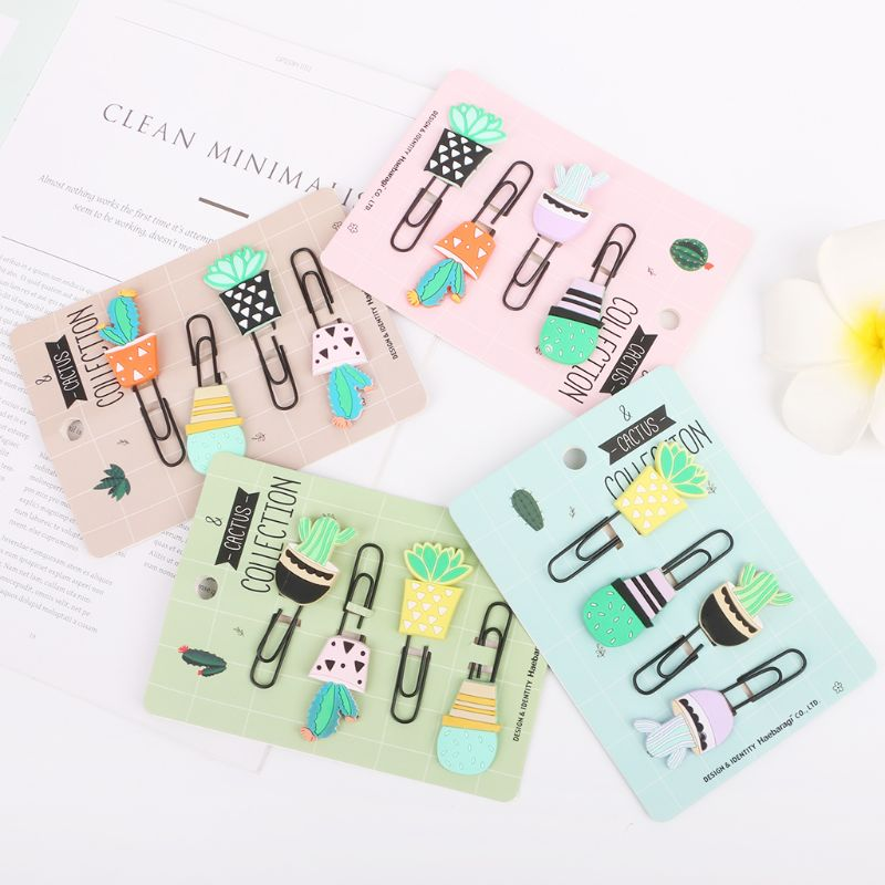 4pcs/set Creative Cartoon Paperclips Bookmarks Cactus Soft Silicone Colorful Paper Clip File Memo Photo Clip School Office