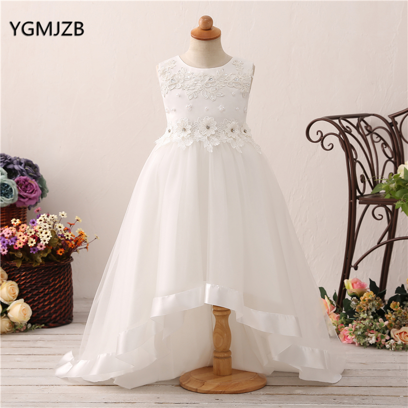 Pretty High Low   Flower     Girl     Dresses   2018 Pearls Appliques   Flower   Tulle Satin   Girls     Dress   Pageant Birthday Wedding Party   Dress