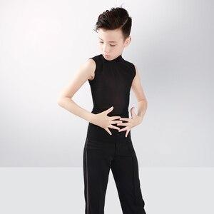 Image 5 - Boys Latin Dance Tops Shirts Black Stand Collar Cardigan 2 Pieces Suit Rumba Samba Dance Wear Kids Dance Competition Costumes
