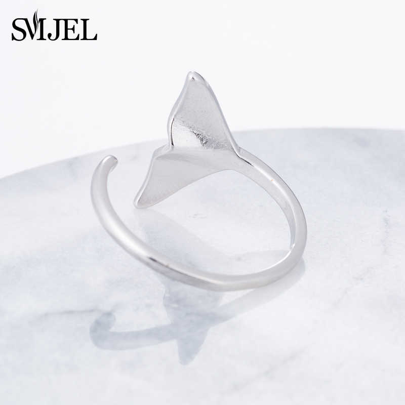 Smjel Fashion Perak Perhiasan Ekor Putri Duyung Manset Cincin Anel Sea Whale Ikan Ekor Karat Cincin Pria Romantis Sieraden Hadiah Grosir
