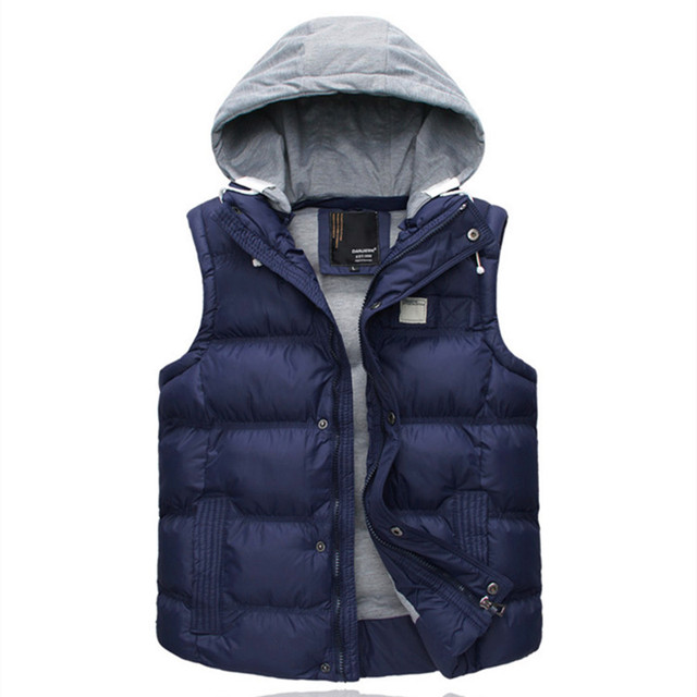 2016 Men's Thicken Slim Casual Vests Hat Detachable Vest For Winter Youth Trend Big Plus Size M-3XL four Colors Colete