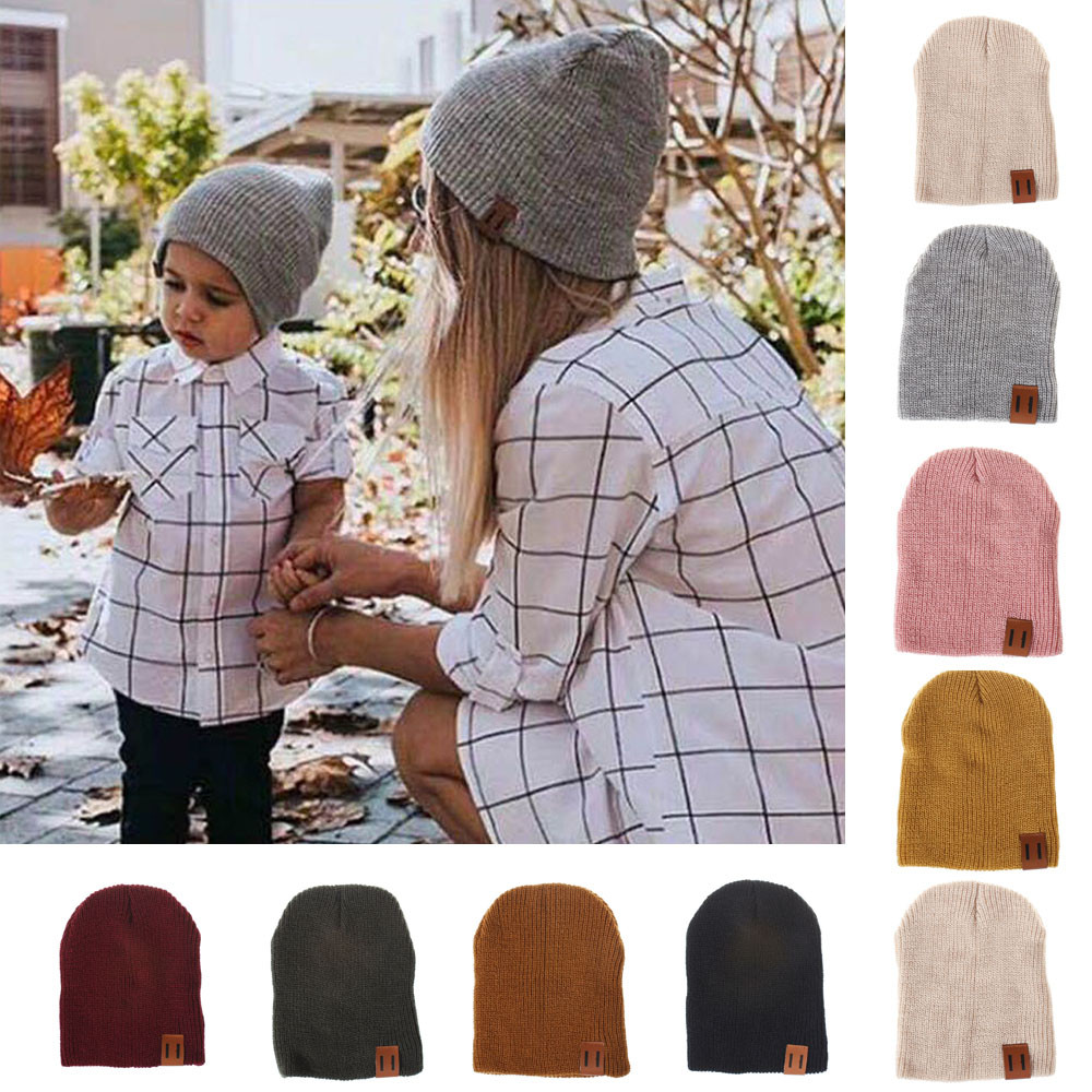 ETOSELL Mom&Me Fashion Women Cap Solid Color Head Baggy Warm Hat Skullies Crochet Winter Ski Beanie Skull Slouchy Caps PJ0906
