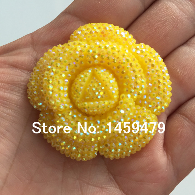 New 3D Flowers Large Resin Yellow AB Stick-On Crystals Rhinestones DIY  Craft art Accessory Stones 4pcs 47mm 43cae71a601c