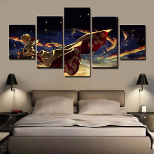 Art Canvas Home Decoration Poster Printed Modular Wall 5 Panel Cartoon Naruto For Living Room Framework Pictures Painting(China)