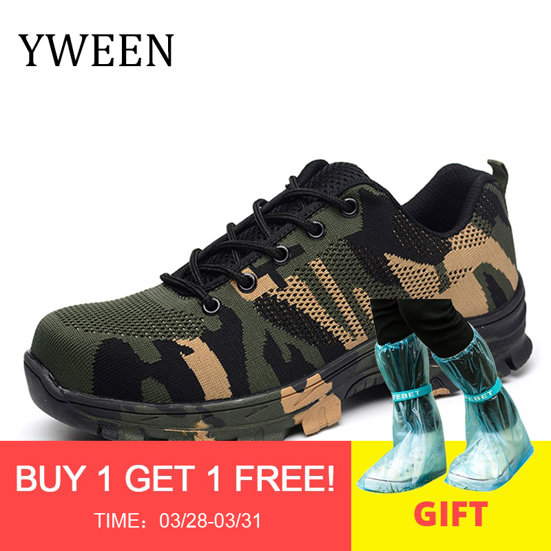 a445a05ca YWEEN Men Work Safety Boot Outdoor Steel Toe Cap Military Shoes Men  Camouflage Puncture Proof Army