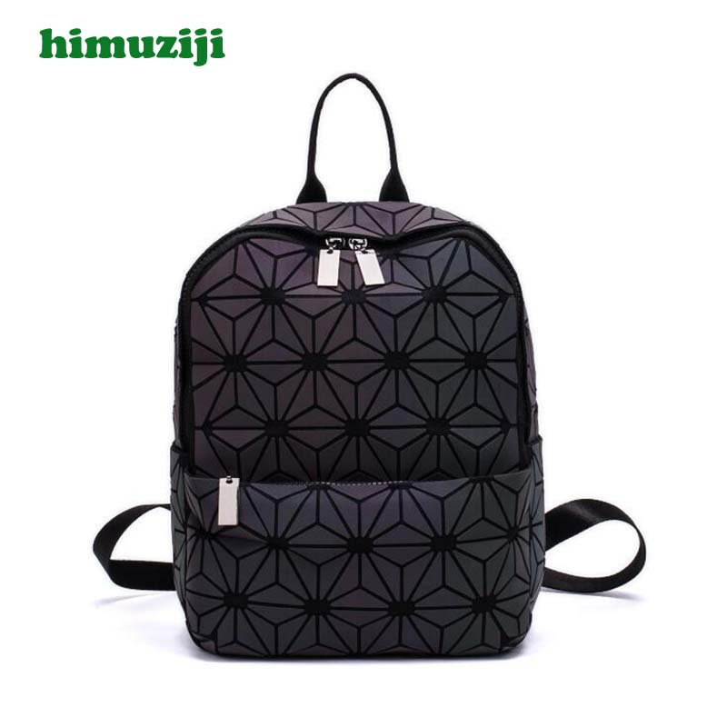 New Women Luminous Backpacks Geometric Irregular Shoulder Bag Student School Bag For Teenage Hologram Laser bao bab Backpack geometric pattern irregular front fly cardigan
