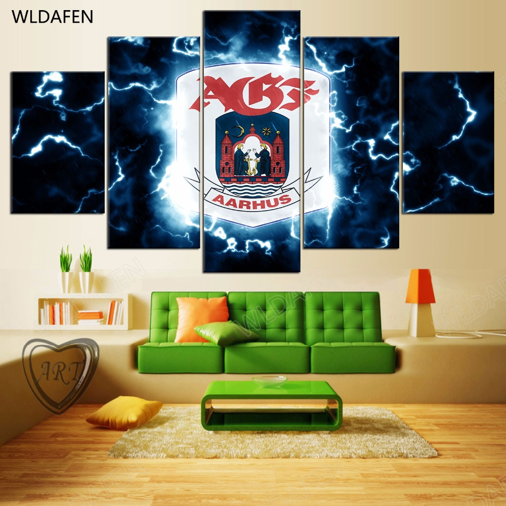 5 Pieces Sports Team Deco Fans Posters Oil Painting On Canvas Modern Home Pictures Prints Decor Living Room PH4-1813