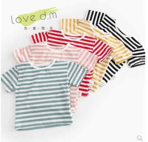 Свободная полосатая футболка с короткими рукавами и круглым воротником для маленьких мальчиков и девочек, блузка с коротким рукавом для малышей