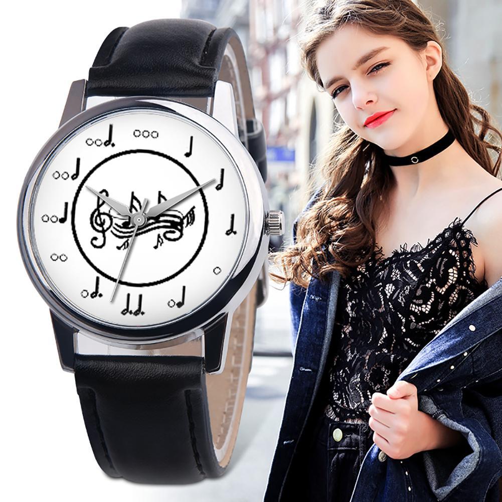 Fashion Music Note Analog Round Dial Faux Leather Band Unisex Quartz Wrist Watch