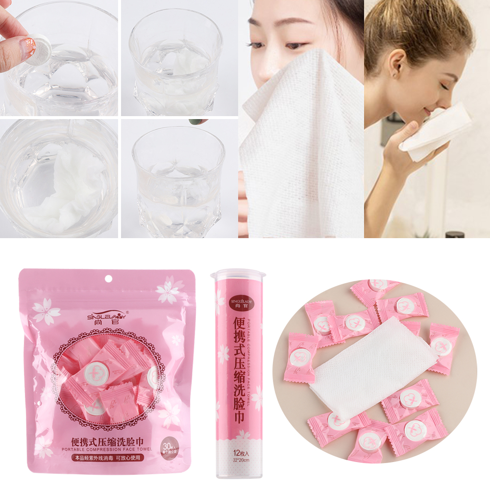 12Pcs 20 Cm * 22 Cm Disposable Pure Cotton Compressed Portable Travel Face Towel Water Moistened Washcloth Napkin