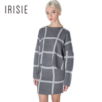 IRISIE Patchwork Gray Striped Long Sleeve Women Sweaters Knitting Ladies Autumn Loose Sweater Female Knitwear Tops Pullovers