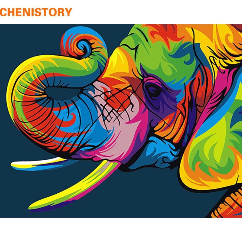 CHENISTORY Frameless colorido elefante DIY pintura por números animales pintura y caligrafía regalo único para la decoración casera 40x50 cm