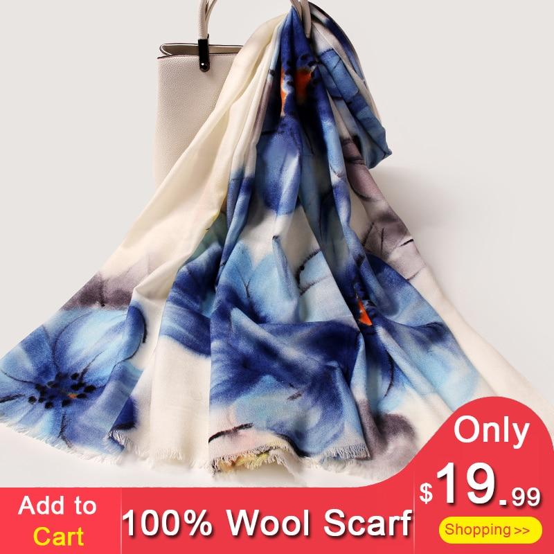 d4a5c9526e494 Günstige Frauen 100% Reiner Wolle Schal 2018 Luxus Marke Schals und Wraps  für Damen Pashimina
