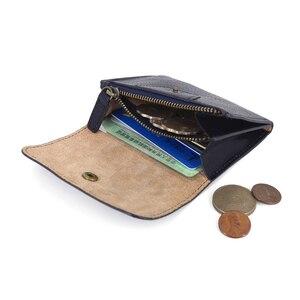 Image 4 - コイン財布女性財布本革ミニ財布小さなコインポーチ掛け金 & ジッパー袋カードホルダーポケット男性牛革財布