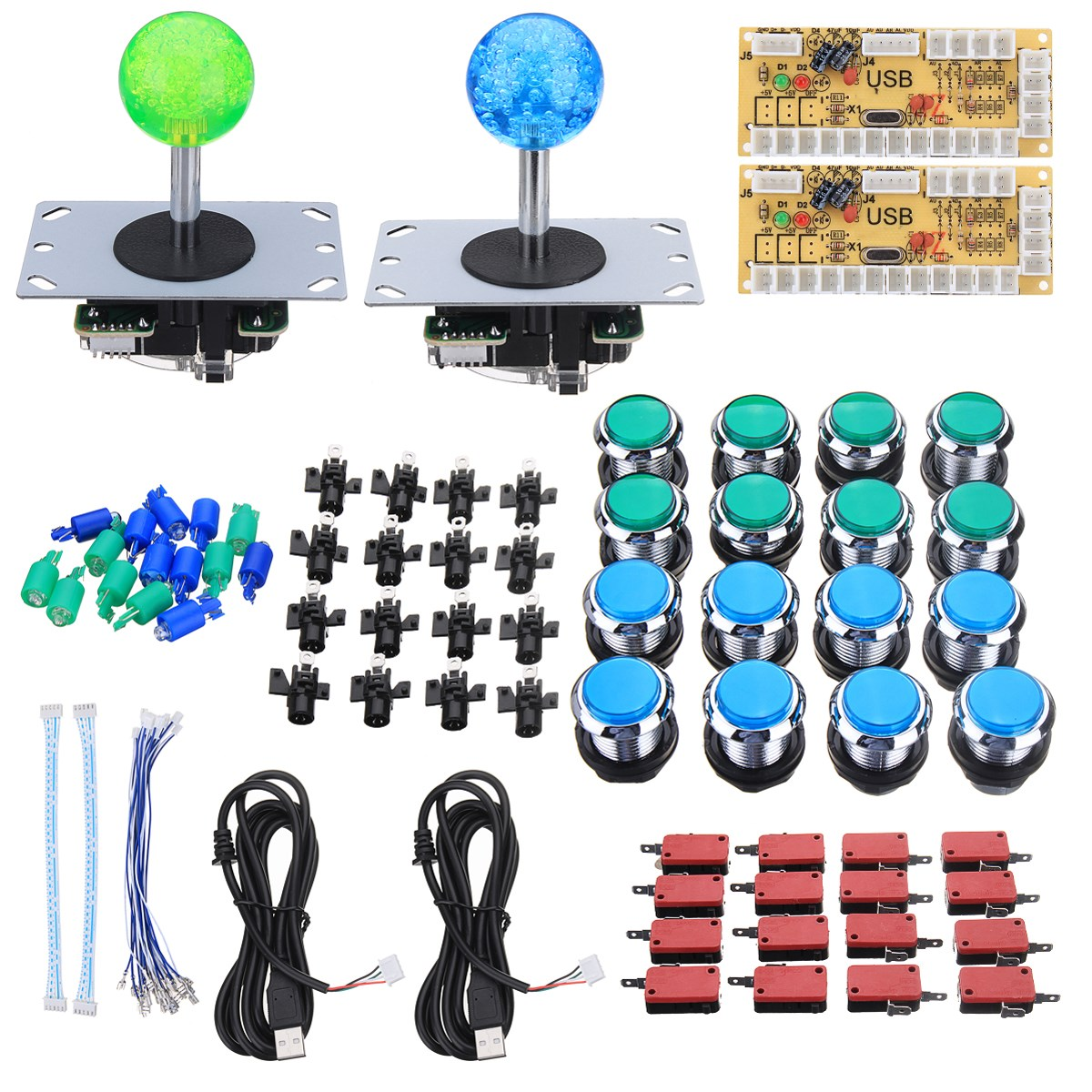 2 Players Arcade Joystick DIY Kits With 2 Zero Delay Keyboard+16 LED Push Buttons+16 Microswitch+Cables Joystick Arcade Set2 Players Arcade Joystick DIY Kits With 2 Zero Delay Keyboard+16 LED Push Buttons+16 Microswitch+Cables Joystick Arcade Set