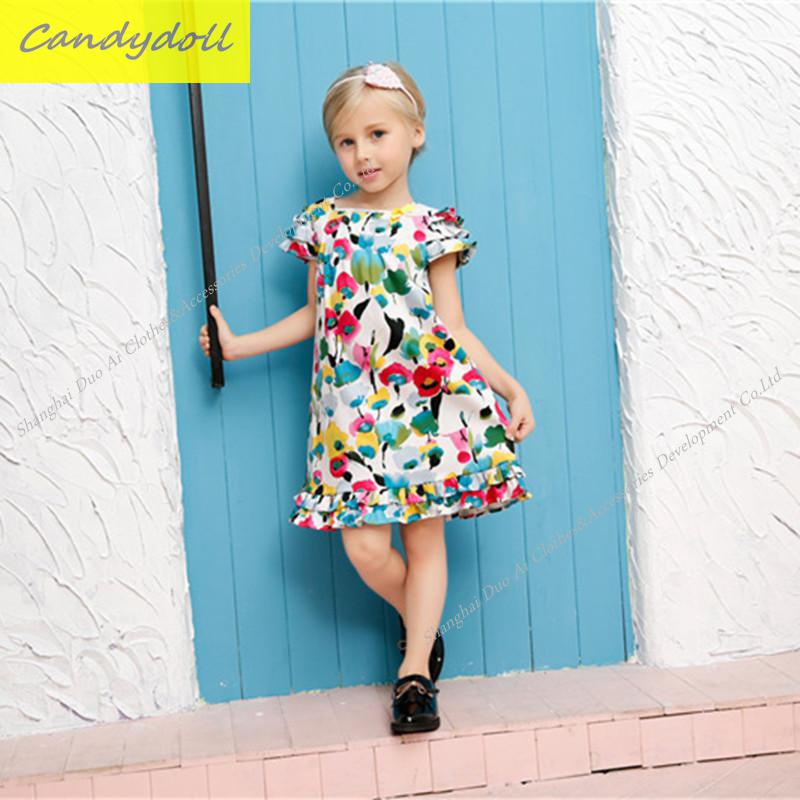 New arrival Children's Dress Summer/Spring/Fall Girl Princess Dress 100% Cotton  Short Sleeves Girls Dress 4-9Y betty mcdonald reflective assessment and service learning