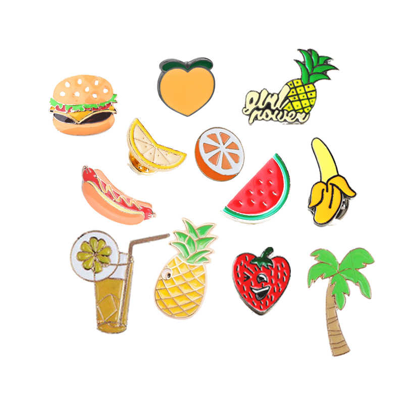 Fashion Cartoon Pineapple Peach Banana Fruit Brooch Men Coat Burger Hot Dog Metal Brooches Male Enamel Pins Child Badge Jewelry