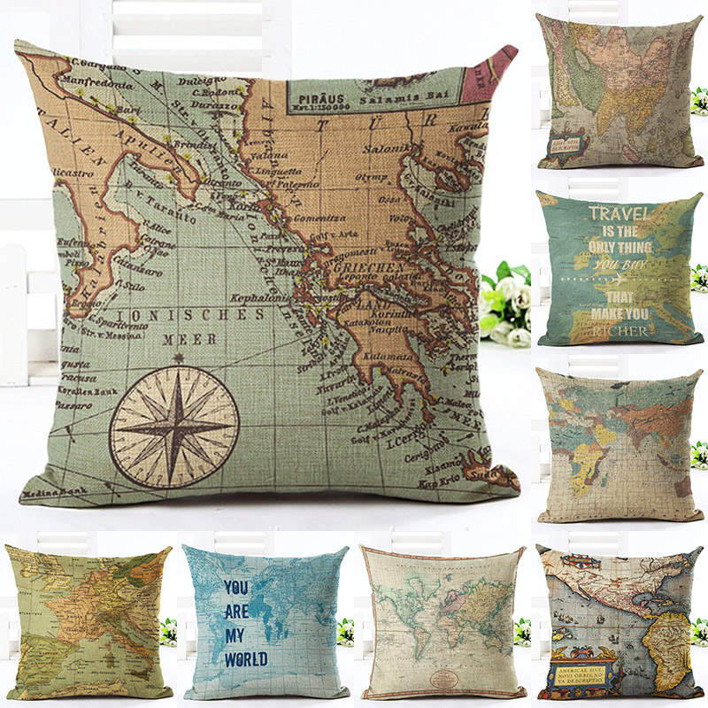 Vintage World Map Printed Cotton Linen Pillowcase Decorative Pillows Cushion Use For Home Sofa Car Office Almofadas Cojines
