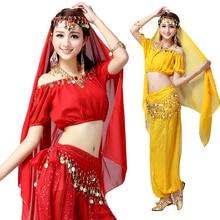 4pcs Belly Dance Costume Triba Gypsy Costume Indian Dress Bellydance Dress Women Belly Dancing Costume Sets Tribal Skirt
