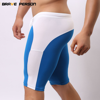 BRAVE PERSON High Quality Multifunctional Breathable Men Tight Beach Board Swimsuit Man Elastic Knee Length Board Shorts Trunks 1