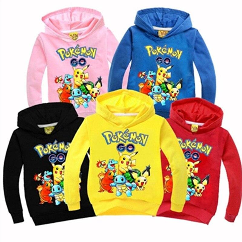 Autumn and winter cotton children's pullover shirt Pokemon cartoon high print black hoodie Naruto sweater girl boy clothing