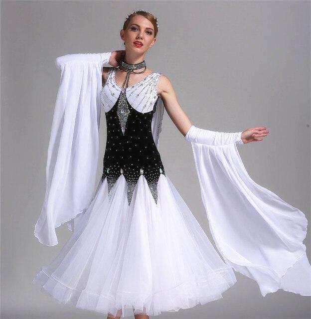 5ca96ea192 Kobieta Luksusowe Rhinestone Standardowy Tańca Towarzyskiego Waltz Tango Taniec  Sukienka Spódnica Kobiet Biały Czarny Modern Dance