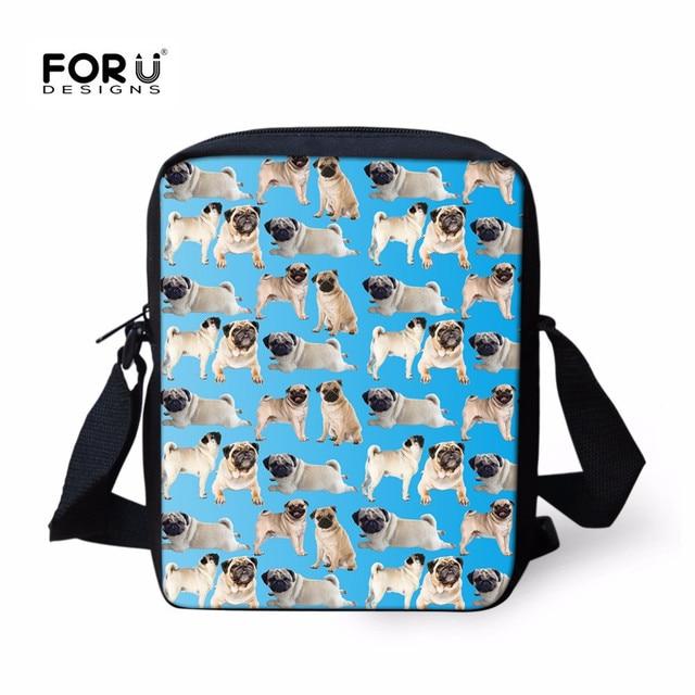 d90c7e0acae FORUDESIGNS Cute Pug Crossbody Bag for Men Women,Animal Print Messenger Bags  Boy Girl Christmas Gift Shoulder Sac 2018 Wholesale