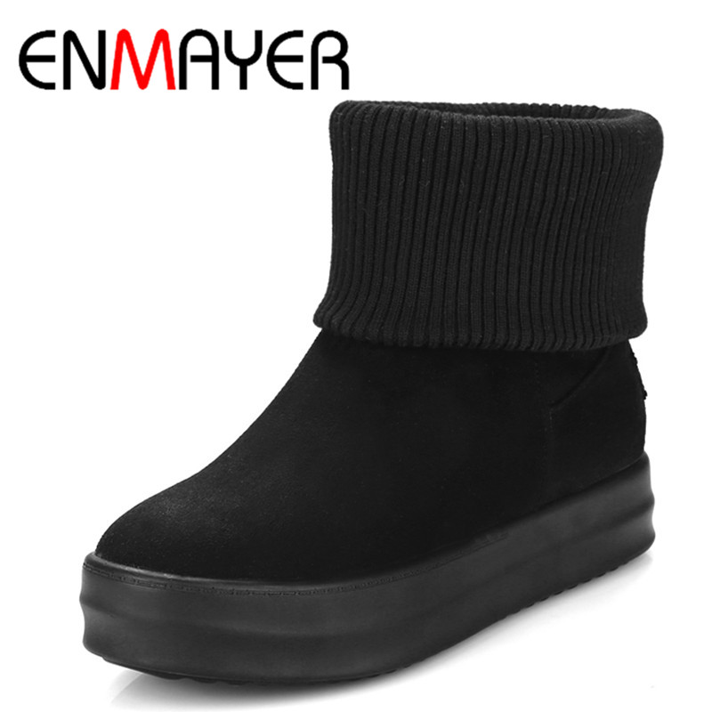ФОТО ENMAYER Low Heels Wedges Shoes WomanBig Size 34-42 Ankle Boots for Women Platform Shoes Classic Black Shoes Round Toe Snow Boots