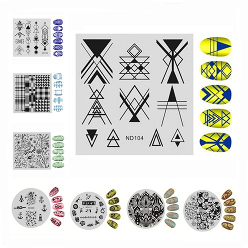 Nail Art Stamping Image Plates Round Square Design DIY Polish Printing Stamp Template Manicure Stencils Nail Stamping Tools 1-35