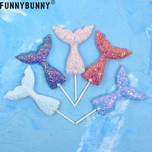 FUNNYBUNNY Mermaid Tail Cake Toppers for Theme Party Decorations, Baby Shower, Bridal Shower and Birthday Supplies