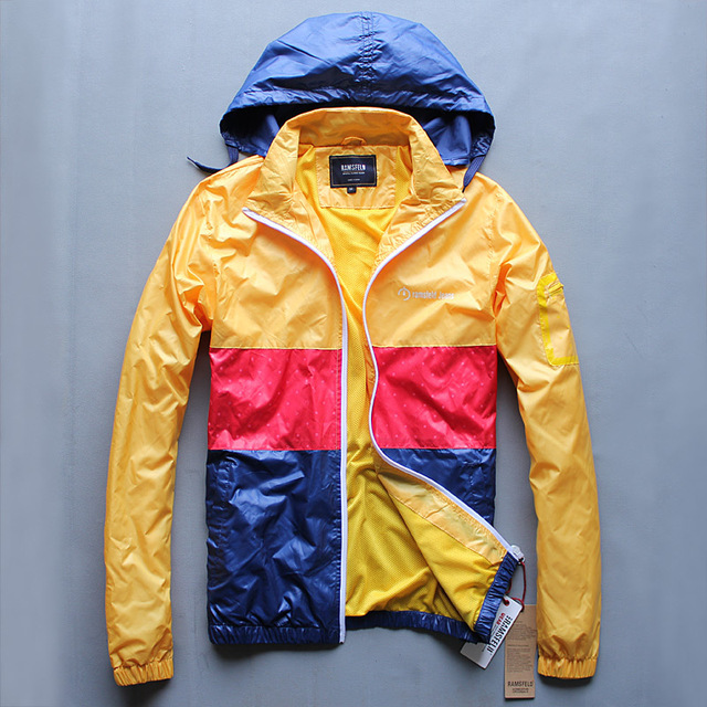 autumn new arrival casual color block men cool nylon college windbreaker  hooded trench coats wind breakers 6a441fb68
