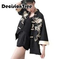 2019 new women's robe traditional kimono cos clothes japanese kimono beach cardigan japanese Dragon Embroidery kimono