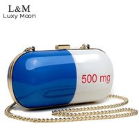 Luxury Hand Bag Women Funny Cute Messenger Bags Girls Capsule Day Clutch Mini Party Purse Chain
