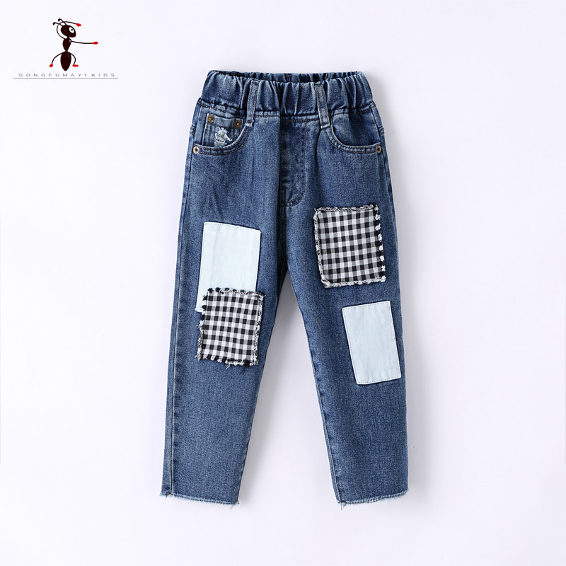Kung Fu Ant 2018 Creative Design 2 Colors Pockets Denim Pant for Students Jeans for Children Straight Fashion B821# men s cowboy jeans fashion blue jeans pant men plus sizes regular slim fit denim jean pants male high quality brand jeans