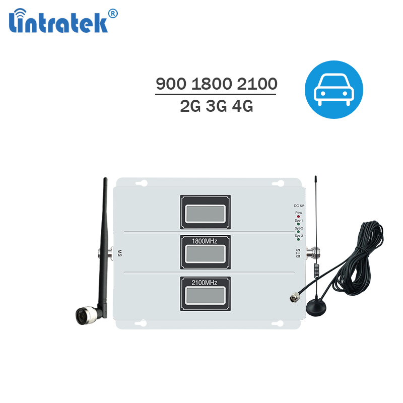 Car Signal Repeater 2G 3G 4G Car Booster 900 1800 2100Mhz Mobile Phone Booster 65dB AGC Tri Band Amplifier GSM 3G UMTS 4G LTE @7
