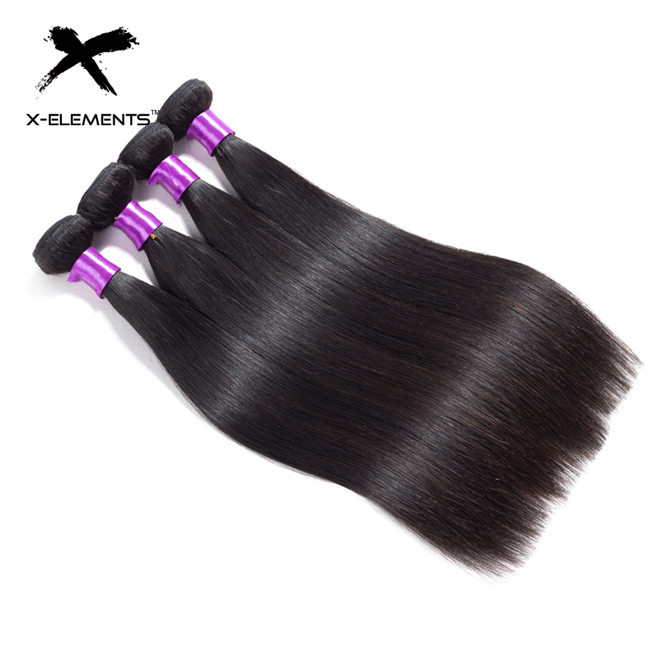 X-Elements Peruvian Straight Hair Weave Bundles Natural Color 100% Human Hair Weave Extensions Non Remy Hair 1 3 4 Bundle Deals (4)