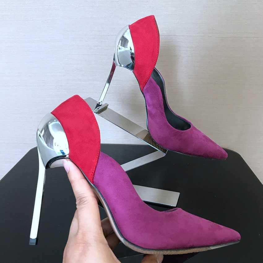 Thiết Kế thương hiệu Womens Cao Gót Nông Bơm Giày Phụ Nữ Sexy Giày cưới Bơm Phụ Nữ Cao Gót Giày Gót Mỏng Bên Váy nền tảng