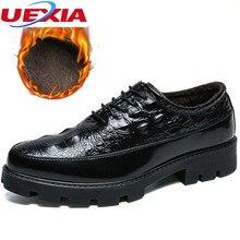 Uexia Кружево на шнуровке, увеличивающие рост ТПУ подошвы повседневная обувь Для мужчин Новые дышащие круглый носок туфли в ретро-стиле Нескользящие офисные Свадебные Обувь на теплом меху
