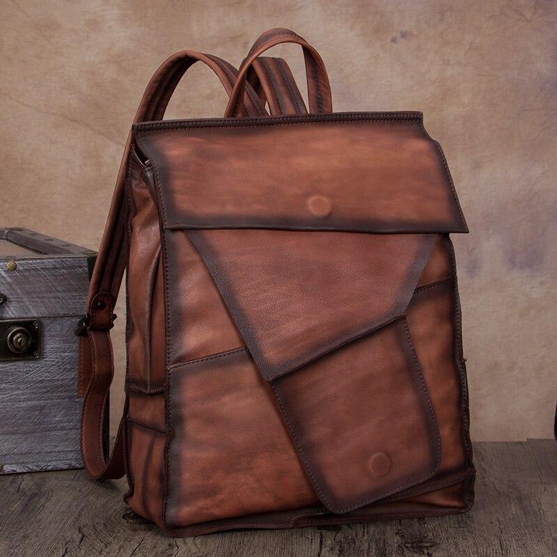Sac rétro première couche en cuir homme et femme sac en cuir fait main sac à dos en cuir pour hommes grande capacité sac à dos de voyage de loisirs