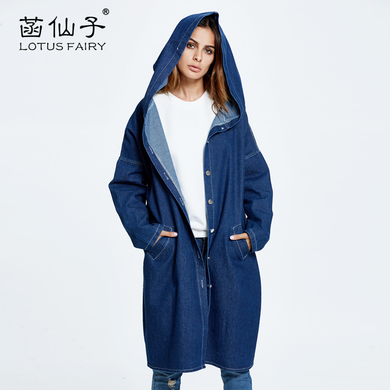 Oversize X-long fashion trench coat woman long-sleeve denim Cloak overcoat femme jean outerwear mujer windbreaker casual outwear