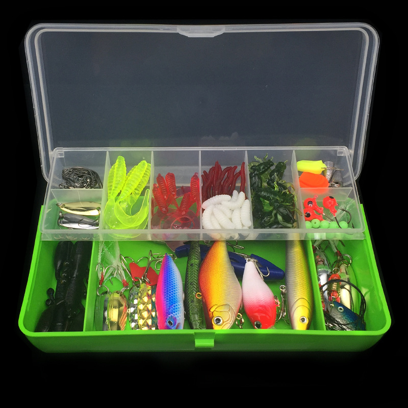 101pcs 1Box Lure Fishing Set Accessory Tackle Box Jig Fly Artificial Fish Bait Wire Connector Fishhooks Beads Ring Pliers Tool in Fishing Tools from Sports Entertainment