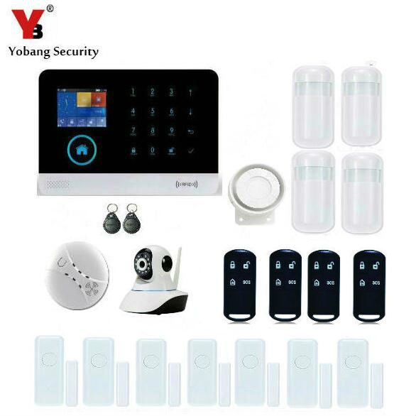 YobangSecurity WiFi GSM GPRS RFID Home Burglar Fire Alarm System Kit IOS Android APP Control With IP Camera Smoke Fire Detector yobangsecurity touch keypad wifi gsm gprs rfid alarm home burglar security alarm system android ios app control wireless siren