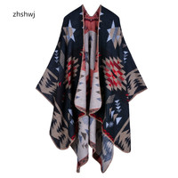 [ZHSHWJ]Large warm winter lattice cashmere scarf shawl double thick shawl autumn and winter women scarf points 130 * 155CM